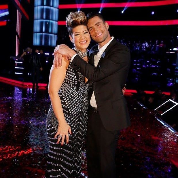 Tessanne Chin and Adam Levine on the set of The Voice