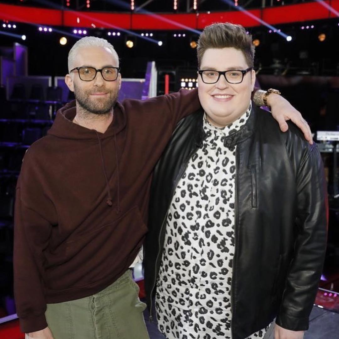 Jordan Smith with his coach Adam Levine