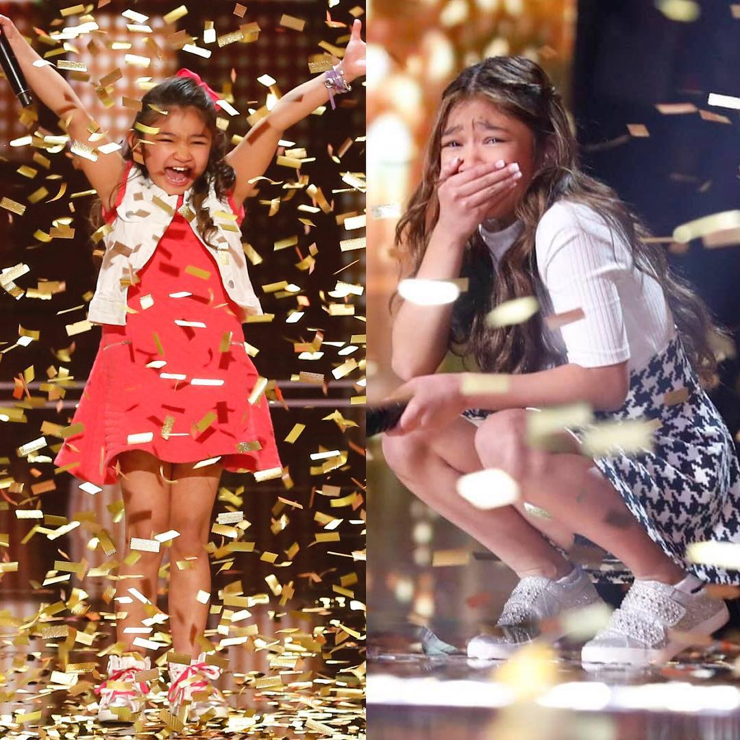Angelica Hale celebrating after receiving golden buzzer