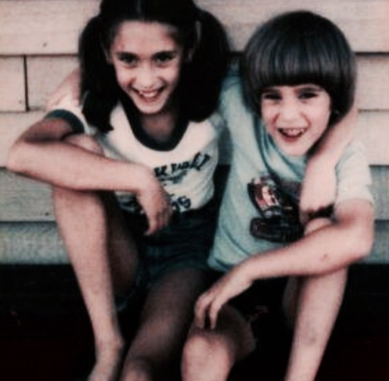 David and sister Rebecca in a photo from their childhood