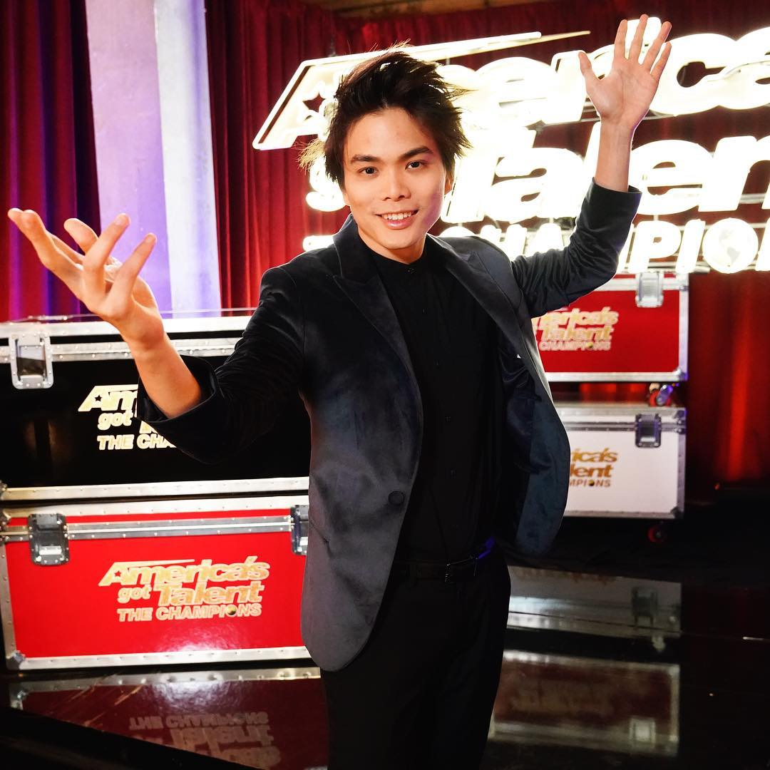 Shin Lim on the set of AGT: The Champions