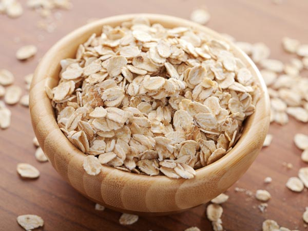 A bowl is filled with oats.